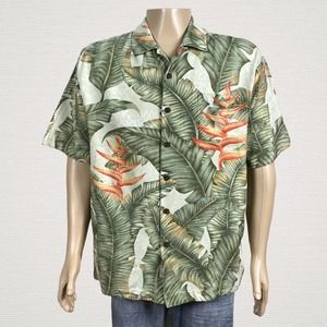 Jamaica Jaxx Hawaiian Bird Of Paradise Silk Shirt